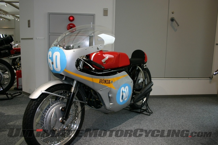 The RC174 motorcycle with the 350cc six-cylinder double overhead cam motor that took Hailwood to victory in 7 out of 8 races.