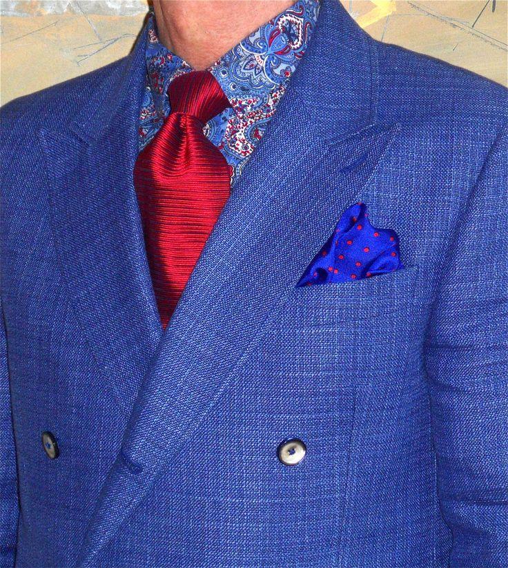 Circle of Gentlemen linen/wool blend DB blazer, Hugo Boss tie, Moods of Norway shirt