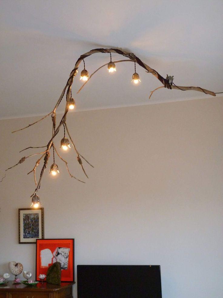 Lampada da soffitto con 7 punti luce e porta lampadine forma floreale