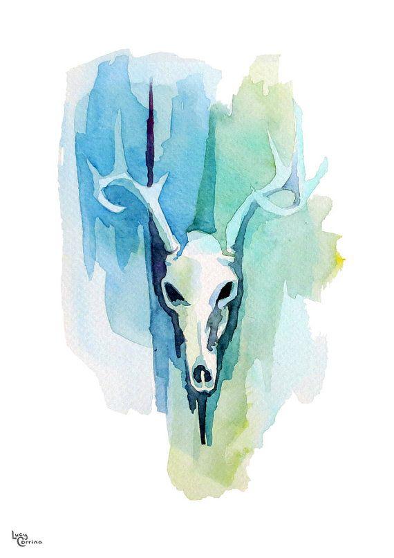 Green Blue Deer Skull Watercolour Print by lucycorrina on Etsy, $25.00