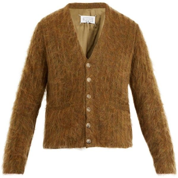Maison Margiela Brushed-mohair wool-blend cardigan ($1,015) ❤ liked on Polyvore featuring men's fashion, men's clothing, men's sweaters, mens mohair sweater and mens cardigan sweaters