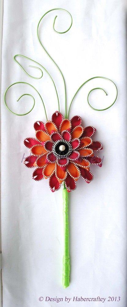 42cm Zipper Gerbera flower - Adult bridemaid wand - Stem decoration - zip craft. £30.00