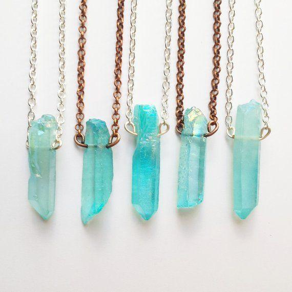 Aqua Aura Quartz Crystal Necklace / Raw Crystal Necklace / Blue