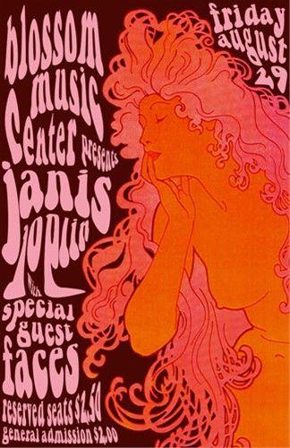 Vintage, retro, hippie, classic rock concert poster - Janis Joplin 1969