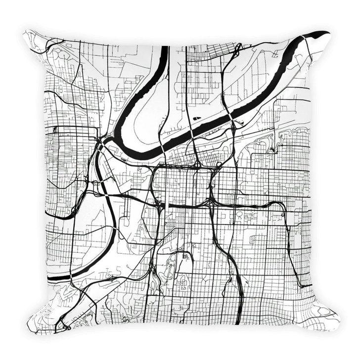 Kansas Map Pillow – Modern Map Art