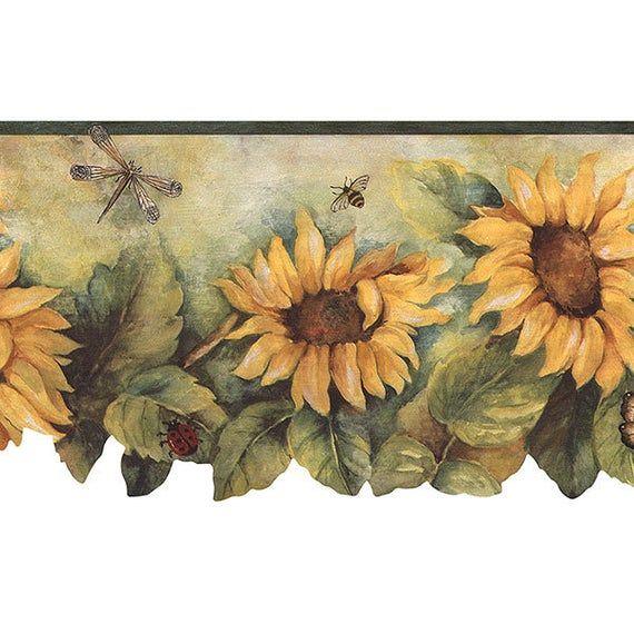 Bg71362dc Dark Green Yellow Sunflower Insect Wallpaper Border Floral Wallpaper Border Wallpaper Border Sunflower Wallpaper