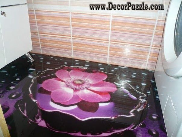 3d bathroom floor murals designs, floral self-leveling floors for bathroom flooring ideas