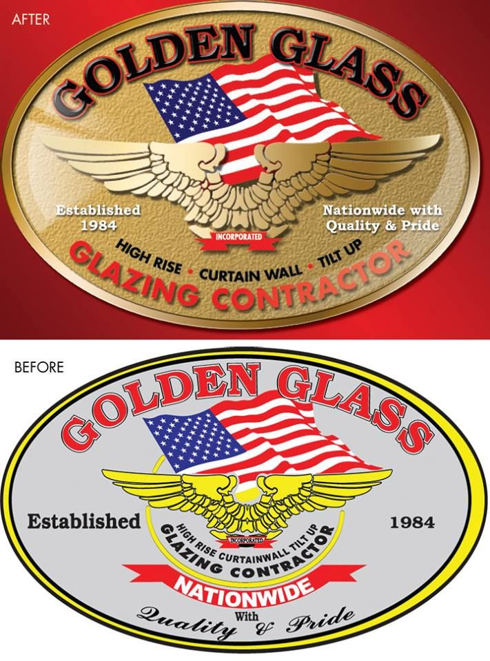 Glass company, Golden Glass, in Fullerton, CA, hired me to overhaul their '80s logo to give it the look of today.