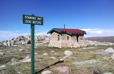 Seamans Hut, a shelter in the Snowy Mountains 6 kms above Charlottes Pass on the way up to Mt Kosciusko. The shelter in this very bleak area was built by Mr Seaman after the deaths of his son Laurie and his friend Evan Hayes in 1928 as a memorial as there was no other shelter on the mountains.