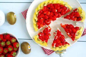 Melonen Frucht Kuchen- Erdbeeren-Kiwi Kuchen
