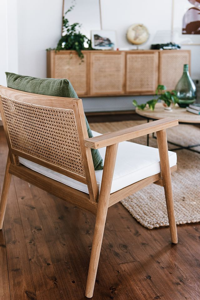 Living Bogart Button Sofa | Willow Woven Buffet | Anja Occasional Chair | Flinders Round Coffee Table | Balthazar Tray Side Table Dining Agra Dining Table | Sketch Root Dining Chairs | Fleur Round Ch