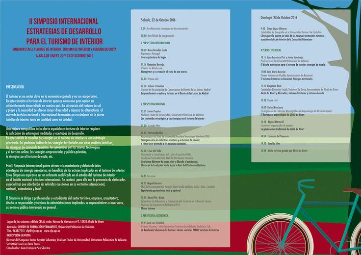Sanahuja&partners en el II Simposio Internacional Estrategias de Desarrollo para el #turismo de Interior. 22 y 23 de octubre, en Alcalà de Xivert #arquitectura