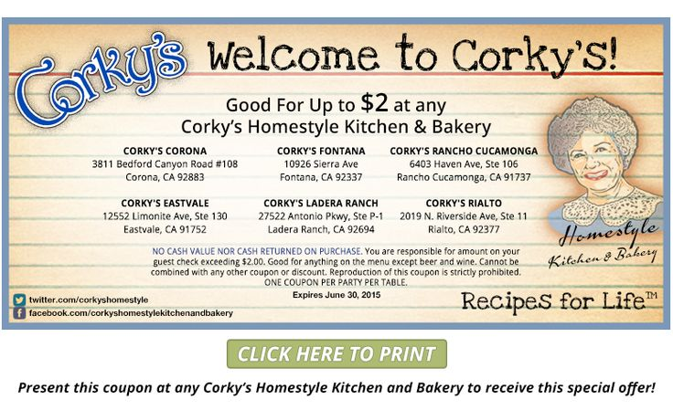 Corky S Homestyle Kitchen And Bakery Coupons