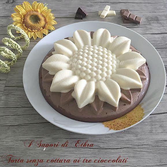 Oggi vi propongo un dolce facile veloce e goloso che volendo potete preparare il giorno prima,la mia Torta senza cottura ai tre cioccolati. Golosissimo!!!