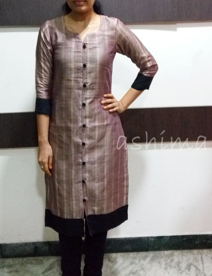 Code:1203160-Silk Cotton With Jute Finished Kurta- Price INR:890/-