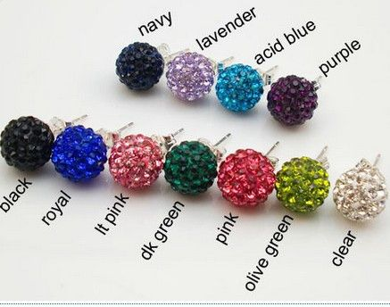 good new arrival 10mm Clay Crystal Micro Pave Disco Ball Silver Plated Shamballa Earrings Stud jewelry for women