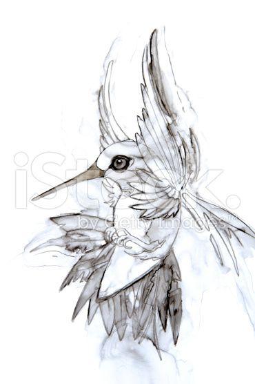 Парить колибри акварельный рисунок роялти-фри стоковая иллюстрация