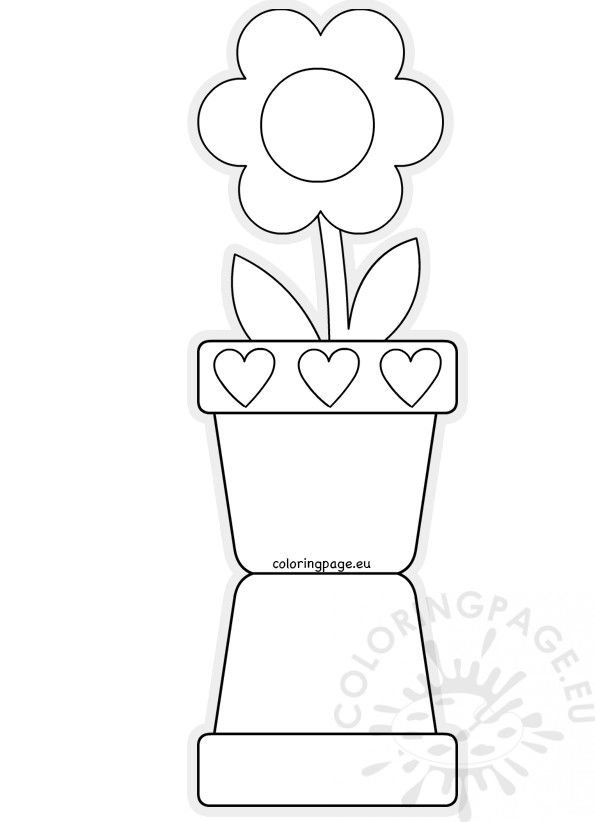 Flower pot shaped card template