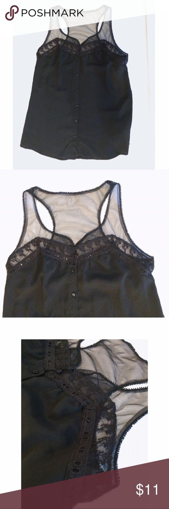 "Black Racer Back F21 Lace Top Sleeveless S Black Racer Back Lace Top Sleeveless size small. Excellent condition. Looks cute tucked in, left out, and even bottom 3 buttons undone and tie the front for a more flirty style.  16"" U to U and 25"" length. Tops"