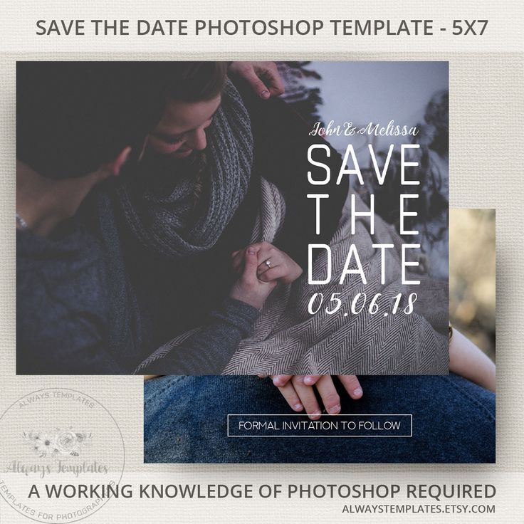 Modern save the date printable template on Etsy by Always Templates - #savethedate #template #photoshop #weddingplanning #weddinginvitations #engagementphoto #modern #minimal