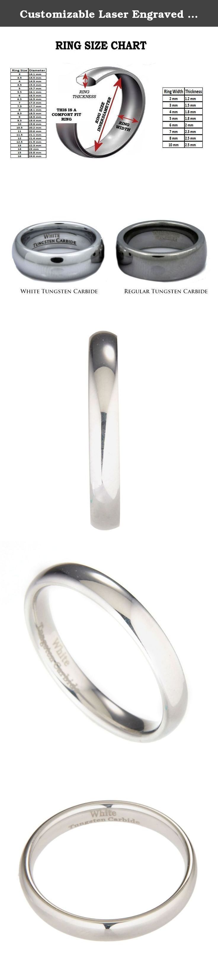 Customizable Laser Engraved 4MM White Tungsten Carbide Polished Classic Wedding Ring Size 10.5. The Metals Jewelry Collection Welcome to the Metals Jewelry Collection. We stock over 30,000 rings with a growing selection of pendants and earrings. Best known for our excellent customer service and unsurpassed quality plus incredible value! Here you will find a Special gift for that someone Special. This Classic White Tungsten Carbide Ring features a High Polish, Mirror Finish giving it a…