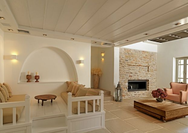 Themonies-10-Luxury-Suites-Folegandros. Seating area  or den over pull out bed.
