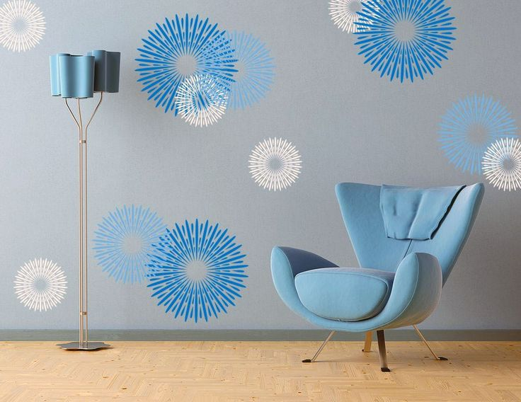modern blue circular design wall decals ideas - Wall Sticker Design Ideas