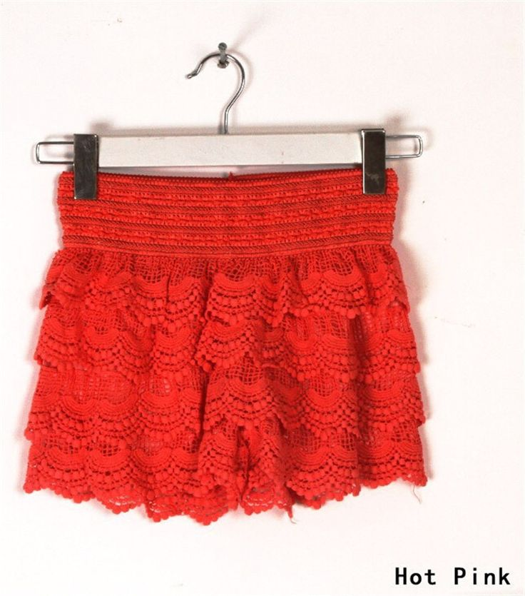 2017 New Summer Fashion Womens Shorts Sweet Style Lace Crochet Elastic Waist Slim Short Pants Plus Size S M L XL 2XL 7 color - MISS LADIES