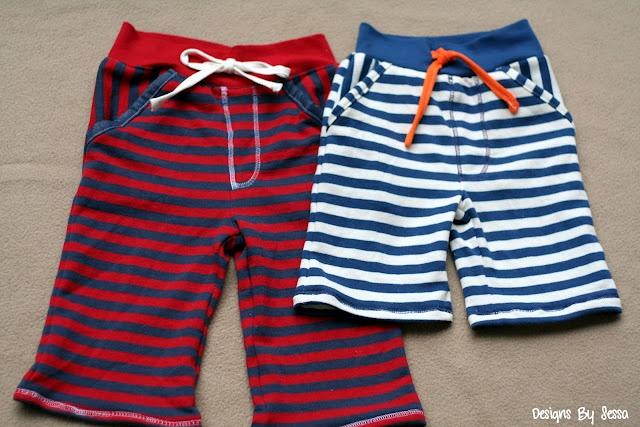 Tutoria & pattern: Little boy striped baggie shorts (can fit in recyclable man's shirt) - patron et tuto pour bermuda/short garçon. Utiliser un vieux sweat à recycler.