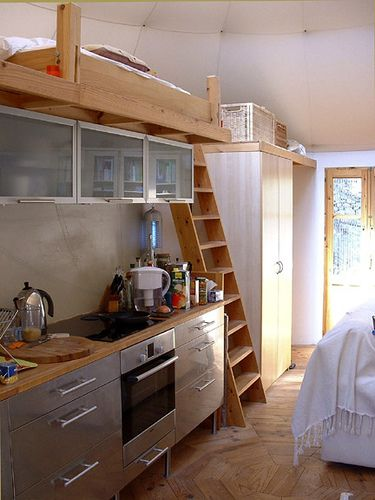 Yurt Ikea kitchen with loft. What's not to love?