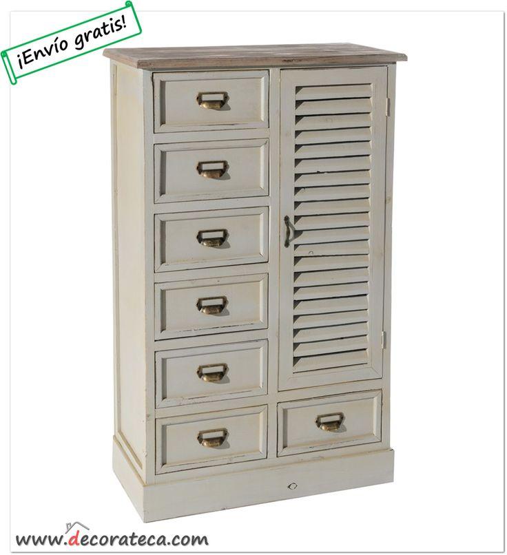 """Mueble auxiliar de madera """"Oxford"""" en color caqui con 7 cajones, puerta de persiana y tiradores de metal - DECORATECA.COM"""