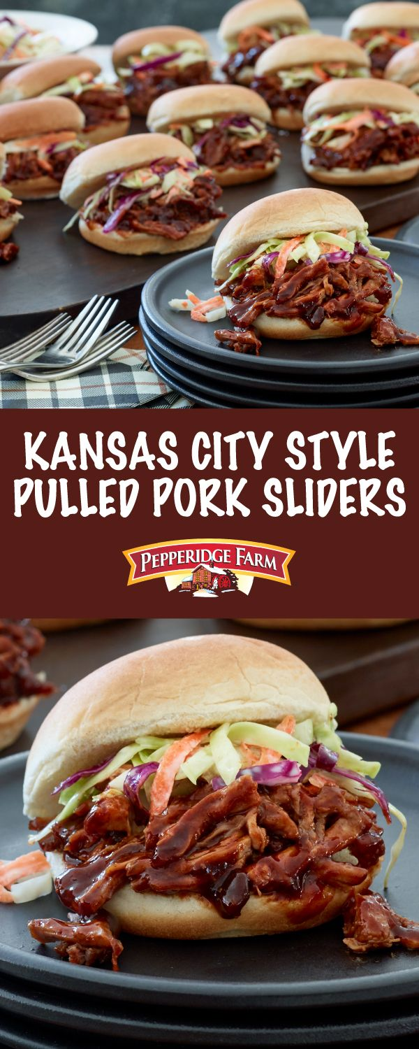 Pepperidge Farm Kansas City-Style Pulled Pork Sliders Recipe. The key to this delicious recipe starts with all-star buns that are piled high with delectable dry rub seasoned pork.  That sweet and spicy combination, along with the tangy sauce gives the pork big, bold flavor and makes these sandwiches a crowd-pleasing winner!