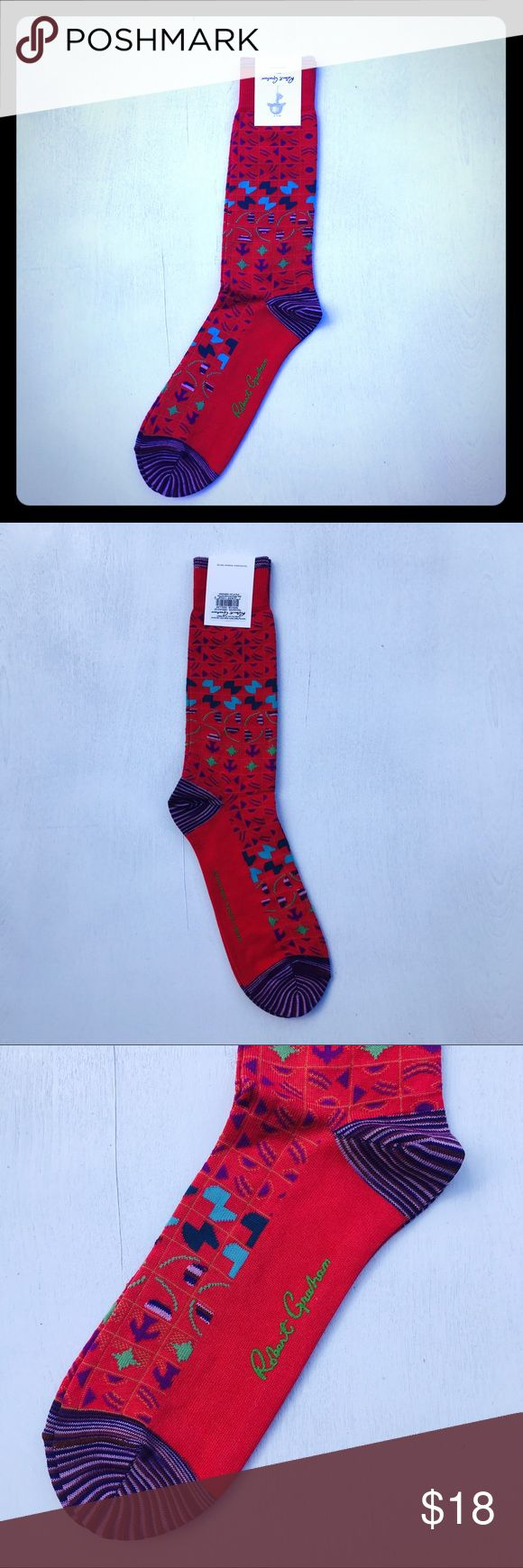 """Robert Graham Red Aztec Dress Socks This pair of authentic new with tags Robert Graham socks are a size regular (fits approximately 9-12 shoe size) and feature eye-popping color combinations and a stylish aztec design.  Signature Robert Graham contrast space dye yarn on tip, heel and toe as well as the designer logo on the side.  The bottom of the sock reads: """"Knowledge Wisdom Truth"""".  62% Cotton, 37% Nylon, 1% Spandex Style Name: Perkins Machine Wash Made from Peruvian Pima cotton Color…"""