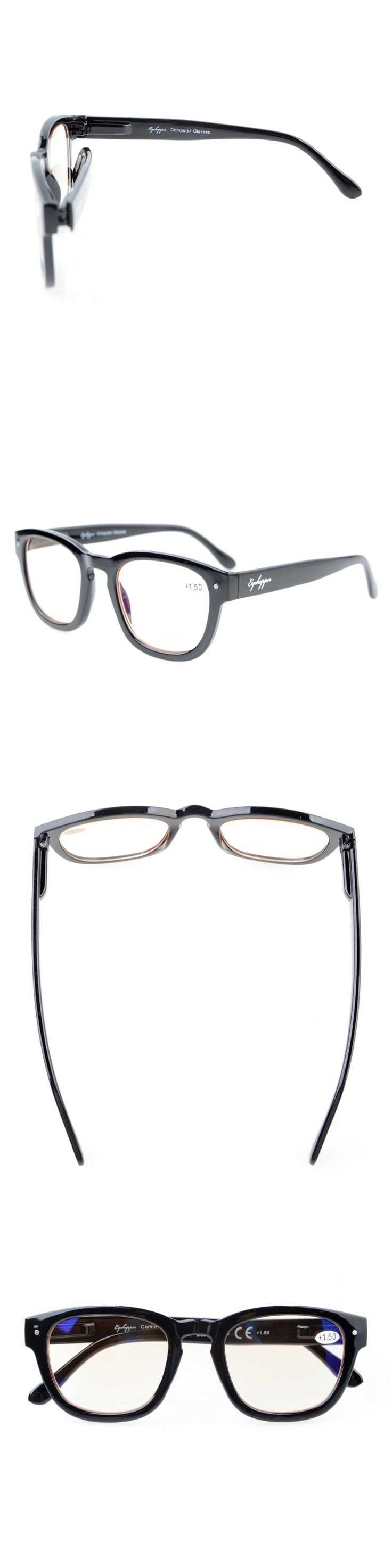 CG089 Eyekepper Amber Tinted Lenses Computer Readers Professor Vintage Style Spring Hinges Arms Computer Reading Glasses