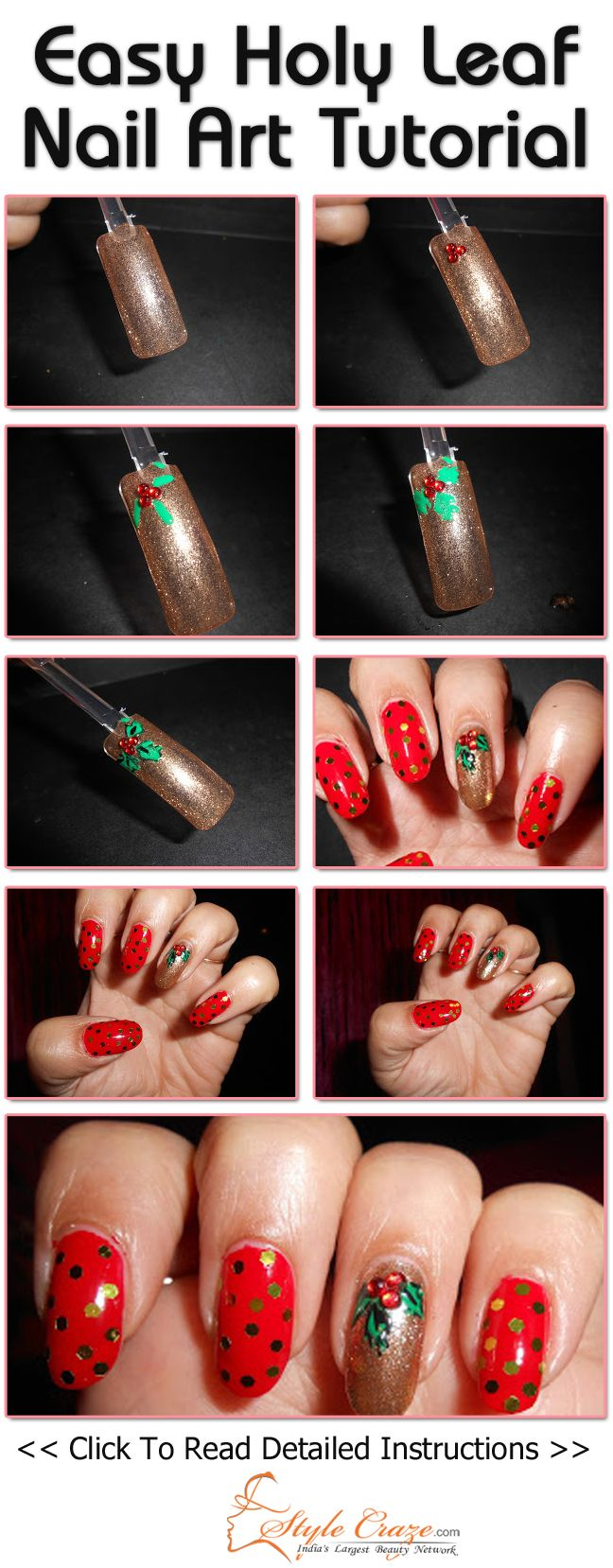 Nail Art Ideas shamrock nail art tutorial : 251 best leaf nail art gallery by nded images on Pinterest | Nail ...