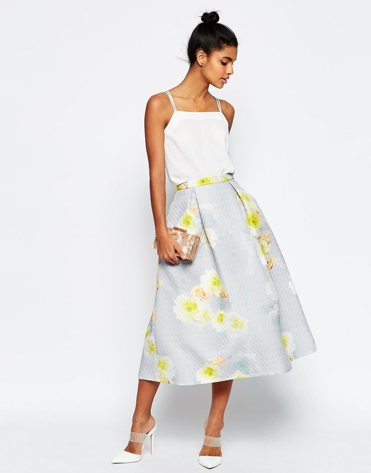 Image 1 of ASOS Printed Prom Midi Skirt in Texture Co-ord