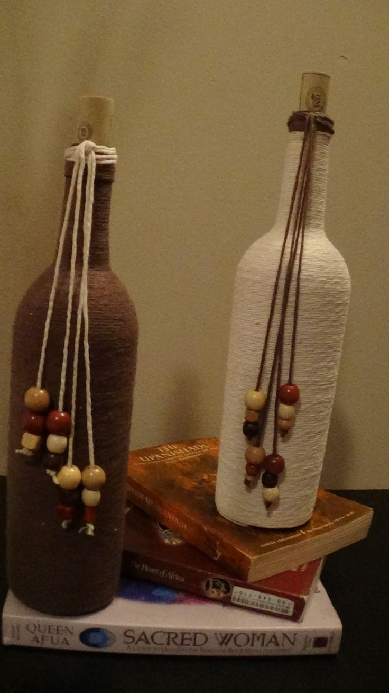 DIY Twine wrapped wine bottles! ? wrap around mason jar rim?  like the wooden beads