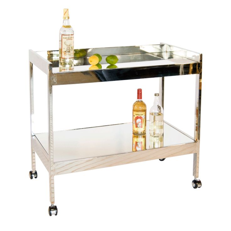 """DIMENSIONS: 36""""W X 33""""H X 20""""D ROLAND N - Nickel plated bar cart with mirrored shelf."""