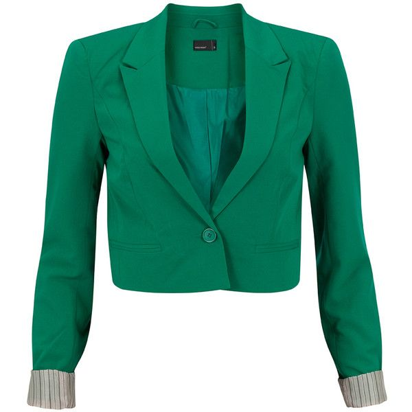 Vero Moda Blazer Clean Green ($32) ❤ liked on Polyvore featuring outerwear, jackets, blazers, coats, tops, green, cropped sleeve blazer, short-sleeve blazers, green cropped jacket and vero moda