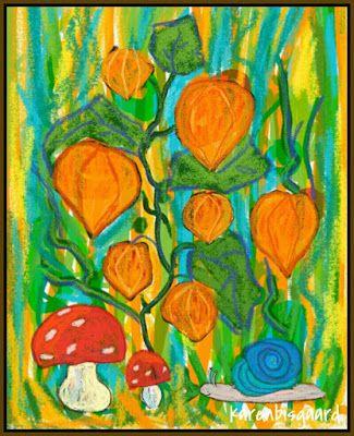 Karen`s Postcard Paintings: Orange Lanterns.