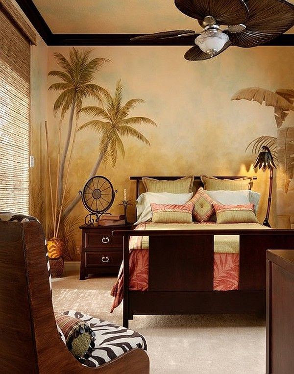 Safari inspired bedroom with a cool painted wallpaper