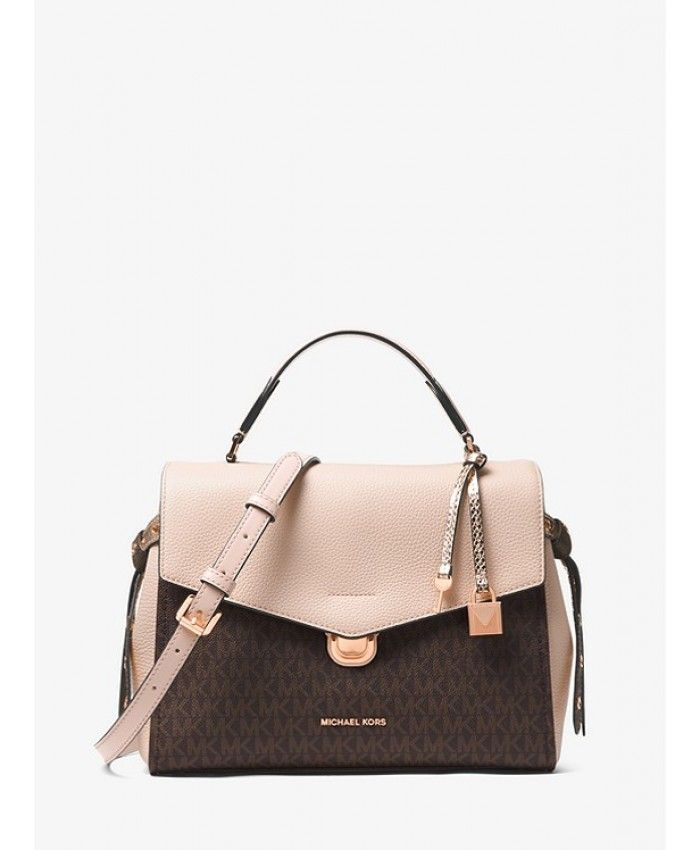 aecbcd9f200b75 Michael Kors Bristol Medium Logo Satchel Brown/Soft Pink | Michael ...