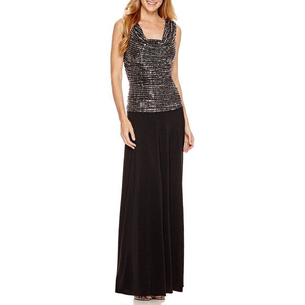 R&M Richards Sleeveless Metallic Formal Gown ($60) ❤ liked on Polyvore featuring dresses, gowns, petite, chiffon dress, petite evening gowns, formal evening dresses, petite formal gowns and petite formal evening gowns