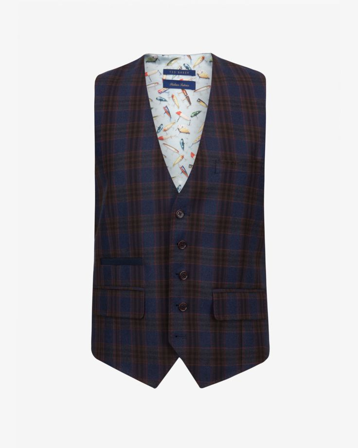Tight Lines checked wool waistcoat - Blue | Waistcoats | Ted Baker ROW