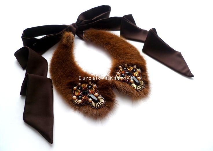 Collar: mink fur and embroidery. Design - Burzalova Kseniya.