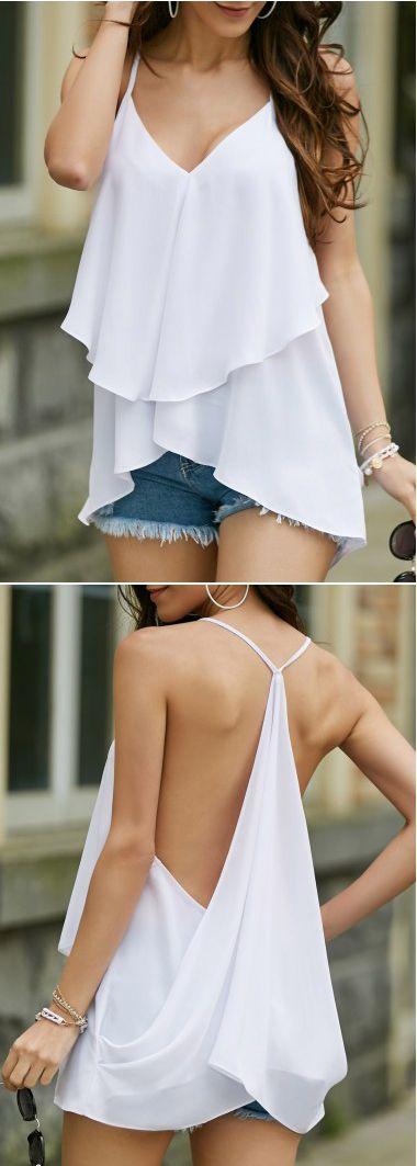 White Chiffon Asymmetric Hem Layered Camisole Top With Draped Back