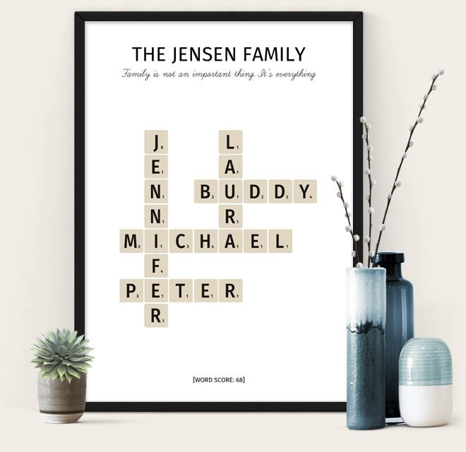 My Family Poster from The Puzzle Poster - scrabble themed poster