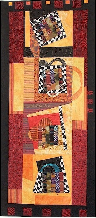 Fiber art quilted wall hanging BIBLIOTECA 22 x 50 by Kissybags, $350.00