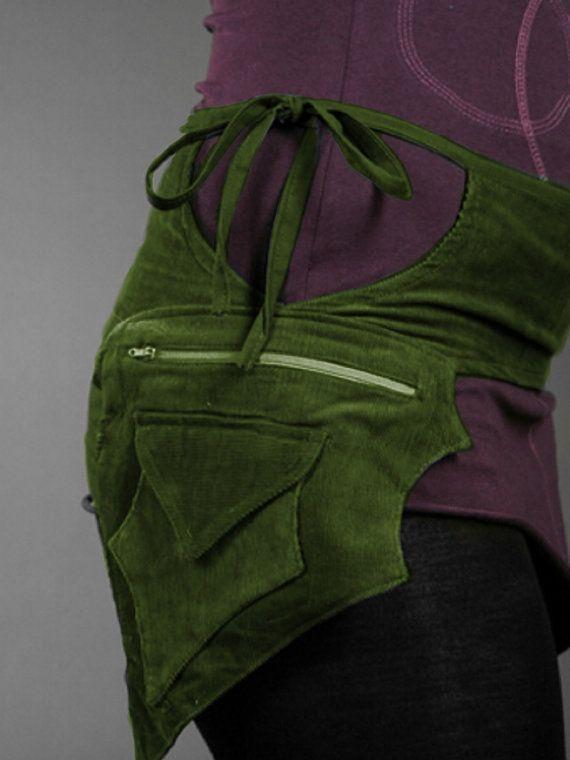 Green leaf  PIXIE belt Pocket BELT Waist bag Hip by GekkoBoHotique