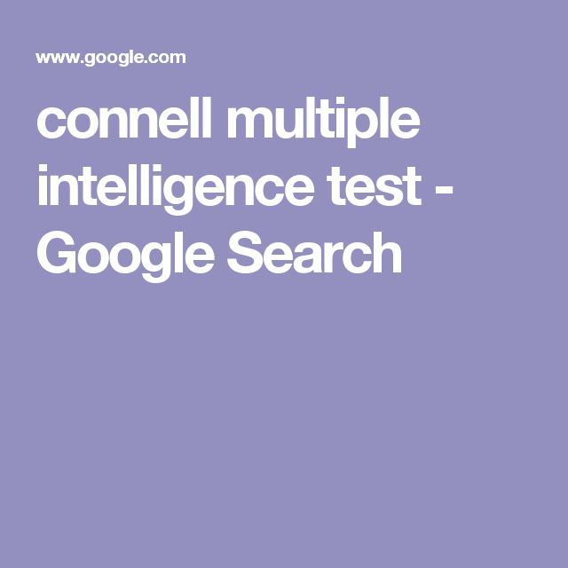 connell multiple intelligence test - Google Search